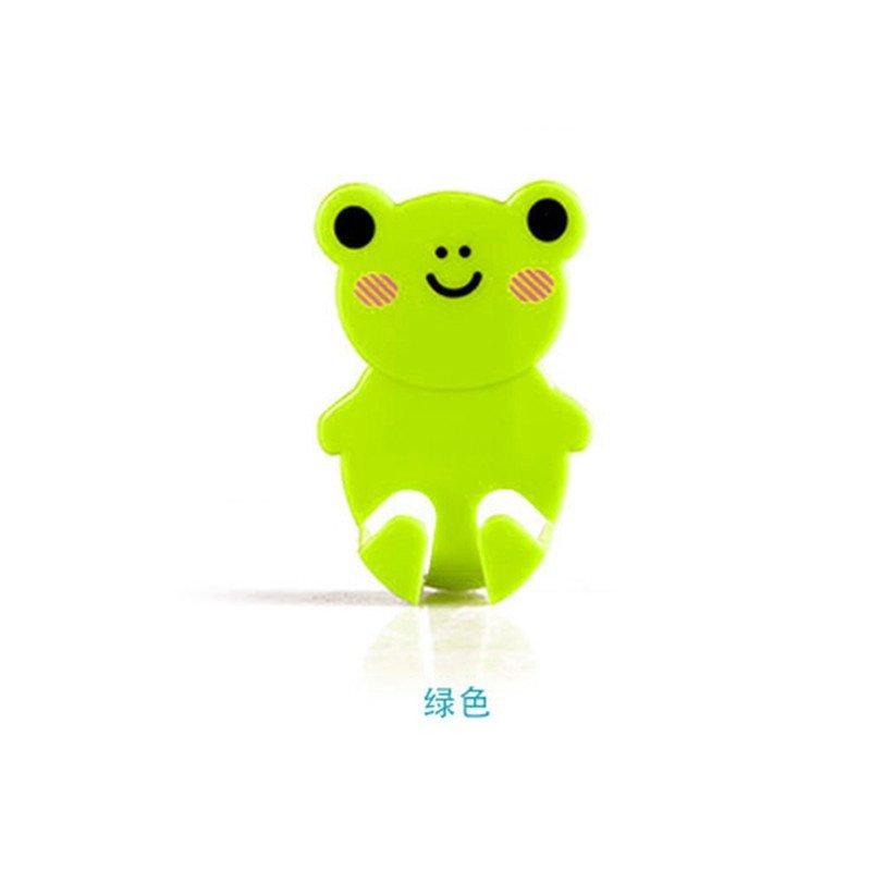 动物造型插头挂钩 炫彩卡通造型插头支架可爱小动物粘钩 绿色