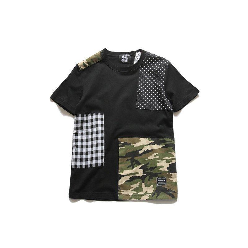 克林科斯 单咖 t676 拼接设计短袖t恤图片