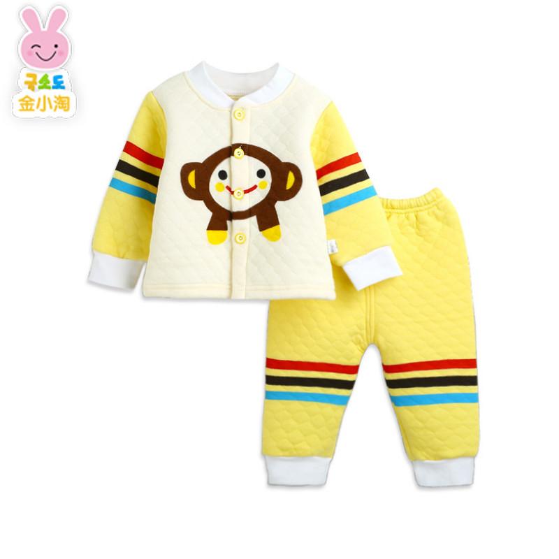 金小淘秋冬款婴幼儿男女宝宝保暖内衣套装卡通可爱小猴秋衣两件套夹棉