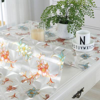 【迎新年 85折】六月荷 软玻璃PVC防水桌布餐桌布磨砂软玻璃塑料桌垫免洗茶几垫台布水晶板定制