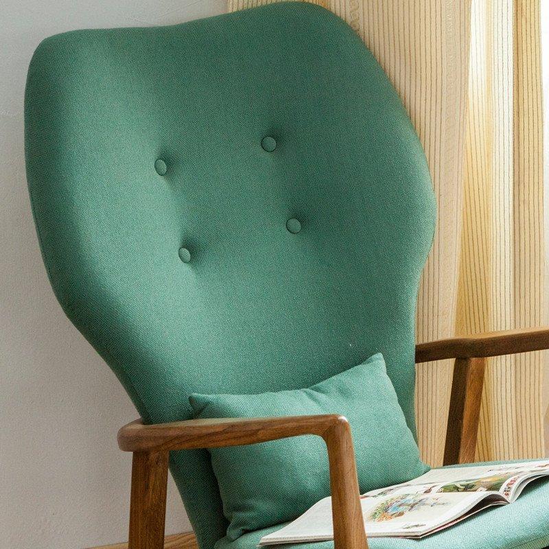 北欧实木摇椅白橡木田园风格布艺软包摇椅