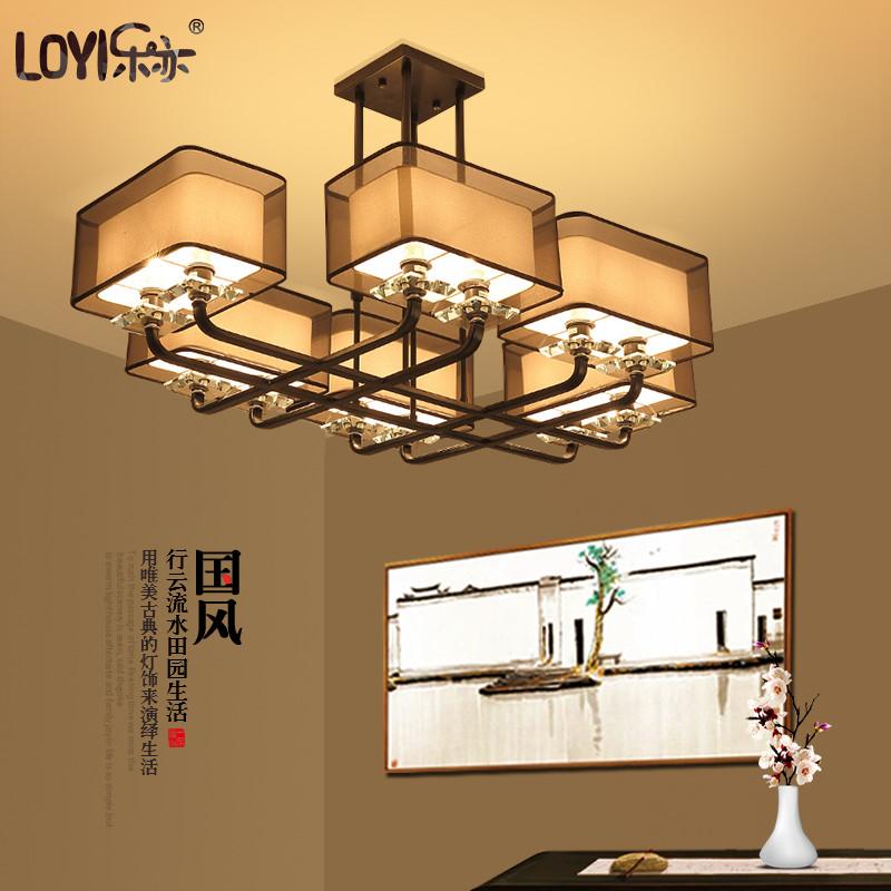 现代新中式客厅吊灯简约长方形餐厅灯布艺铁艺中国风别墅灯饰