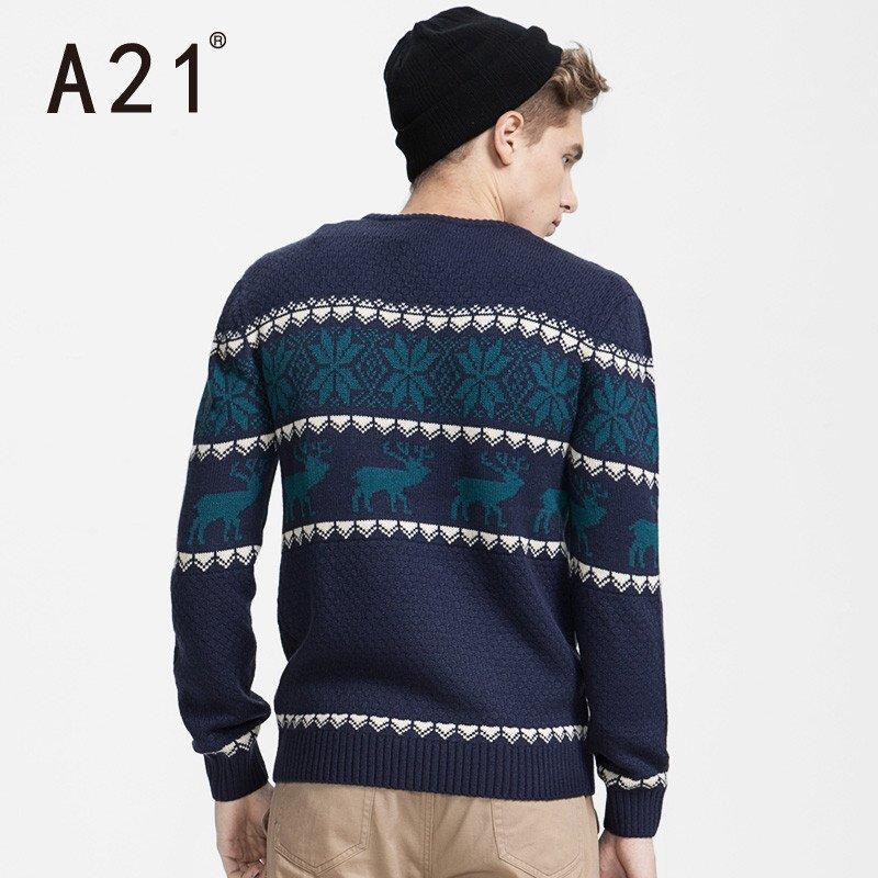 以纯��dh_以纯线上品牌a21男装 2015秋装新品学院风拼色合体长袖毛衣针织衫