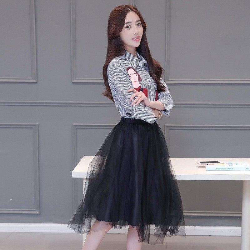 型色滨依 新款女装人物贴布条纹衬衫蓬蓬网纱裙套装裙子