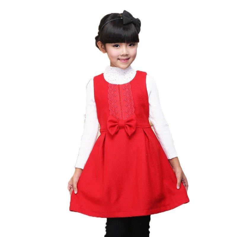时尚韩版女童呢子背心裙儿童公主连衣裙可爱大方秋冬童装公主裙连衣裙