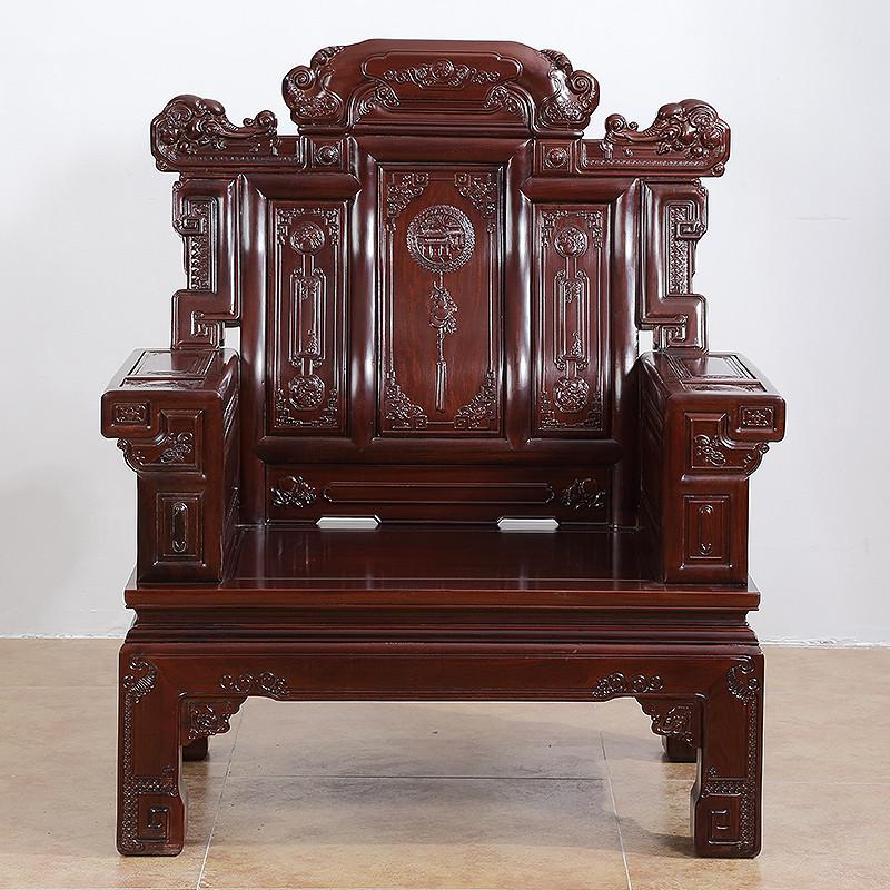 琪梦红木家具非洲酸枝木实木沙发六件套喜从天降客厅雕花组合仿古红木