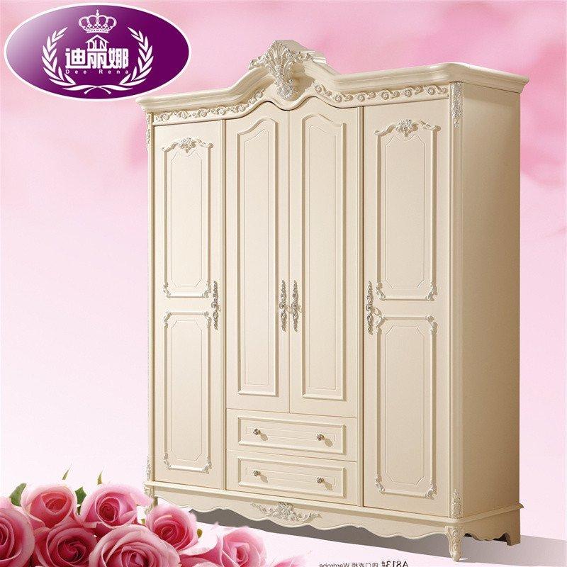 迪丽娜家具 欧式衣柜/衣橱 卧室实木四门衣柜 白色法式衣柜 大衣柜
