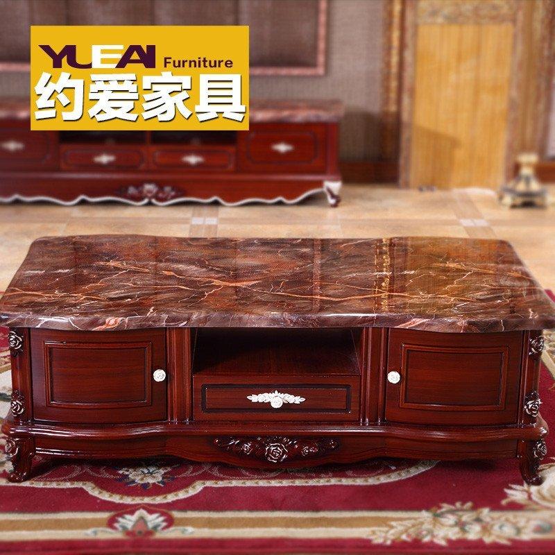 大理石茶几古典欧式实木深红色储物功夫茶桌子电视柜