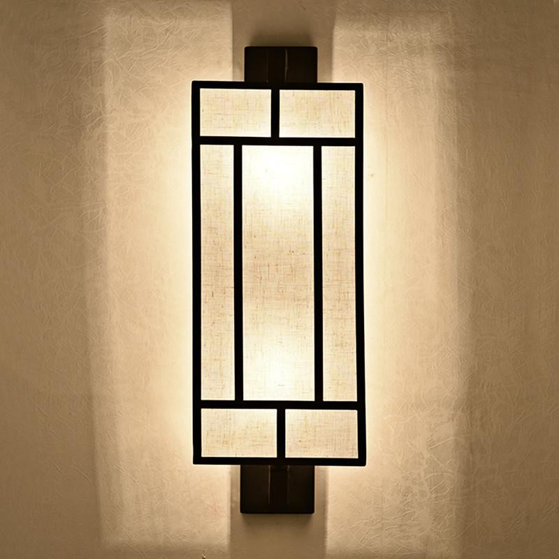 千歌 中式壁灯客厅灯简约现代卧室床头灯复古铁艺走廊