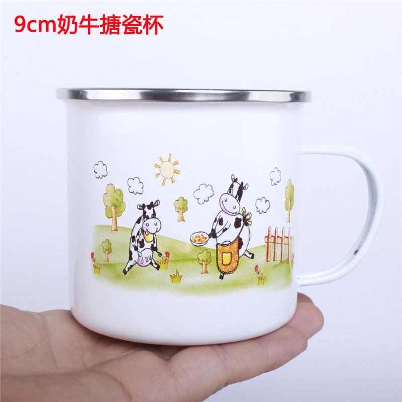 老式复古 个性搪瓷茶杯卡通搪瓷杯 搪瓷茶缸不带盖搪瓷杯 珐琅口杯