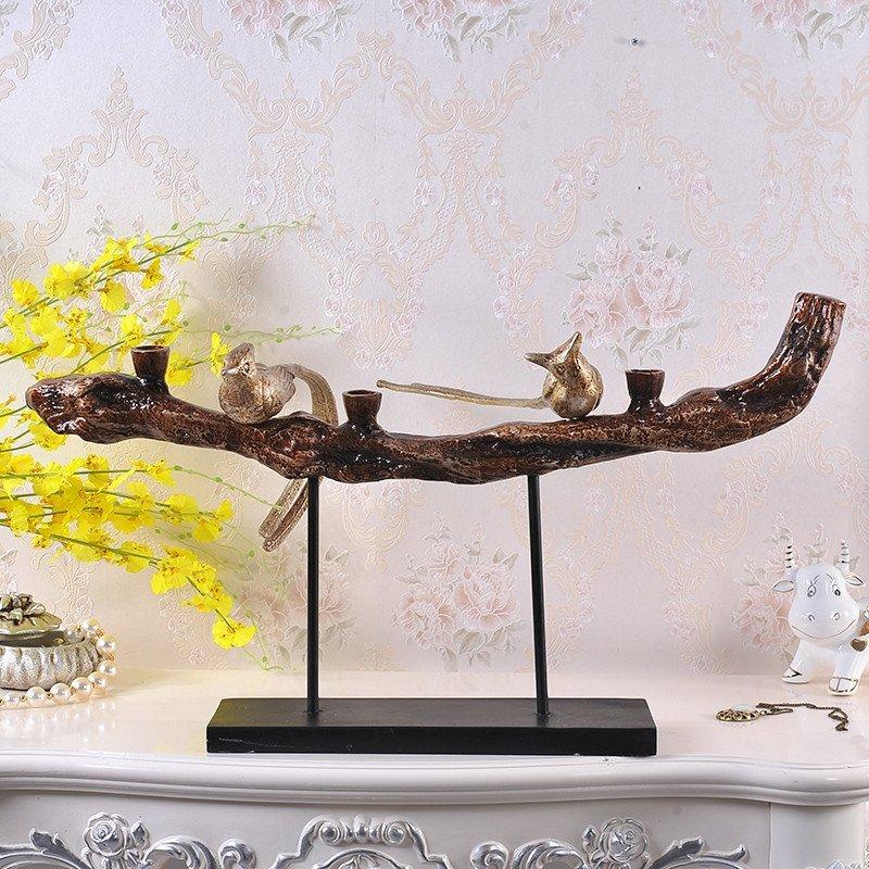 现代中式创意客厅电视柜摆件 树脂喜鹊工艺品家装摆设图片
