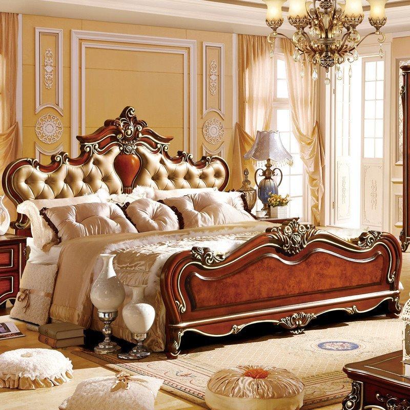 法莉娜 欧式实木床 1.8米双人美式真皮床 新古典深色雕花婚床 r03