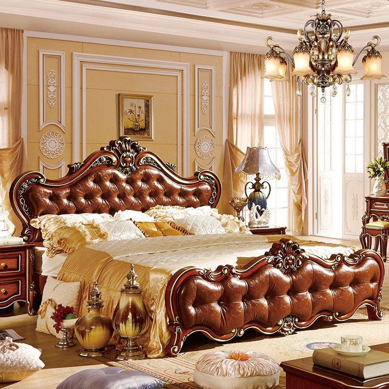 欧式床深色卧室家具r05