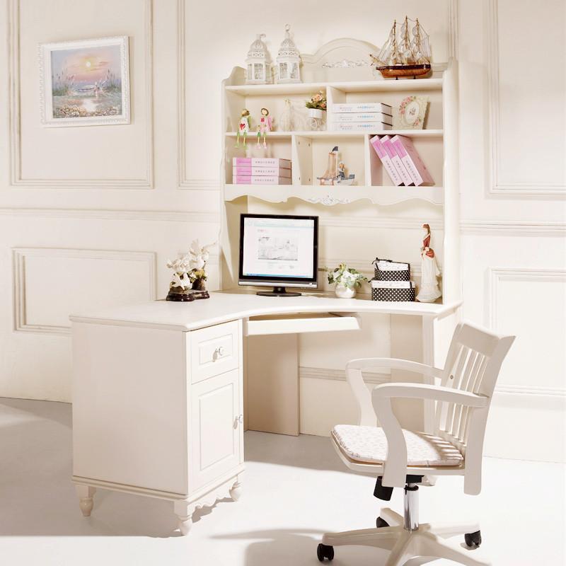 法莉娜 欧式田园电脑桌书桌带书架柜儿童韩式 实木学习写字台桌家用 g图片