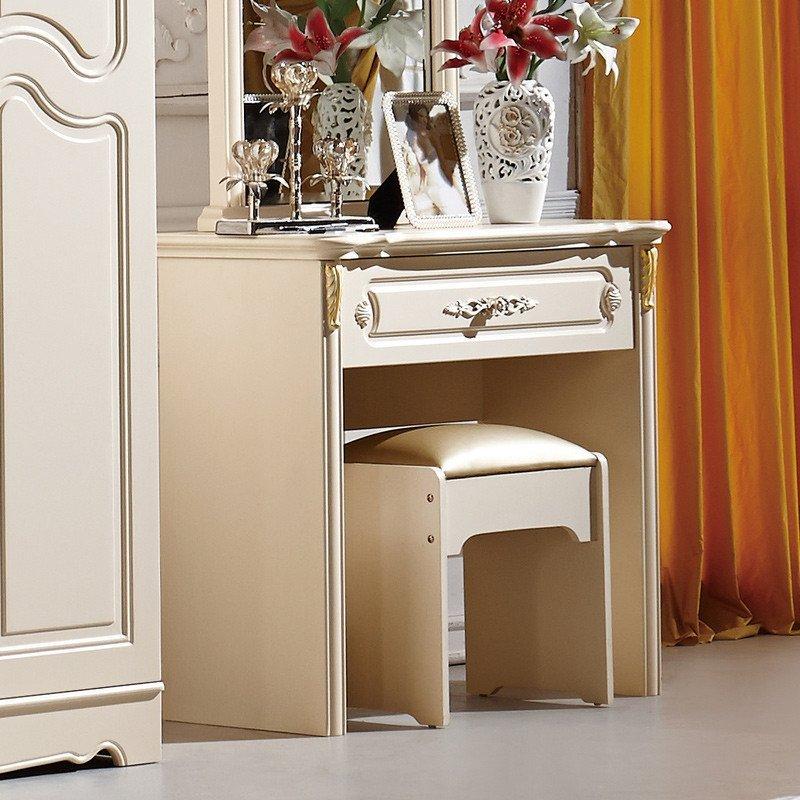 欧式梳妆台 小户型实木化妆台卧室简约象牙白梳妆桌