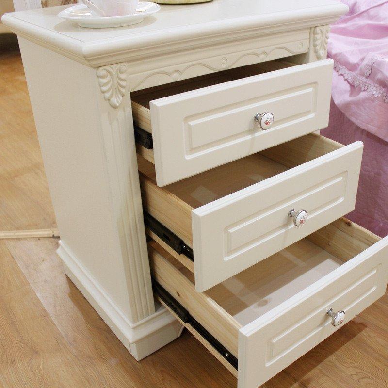 法莉娜 韩式田园床头柜 实木三抽屉储物柜 收纳柜床边