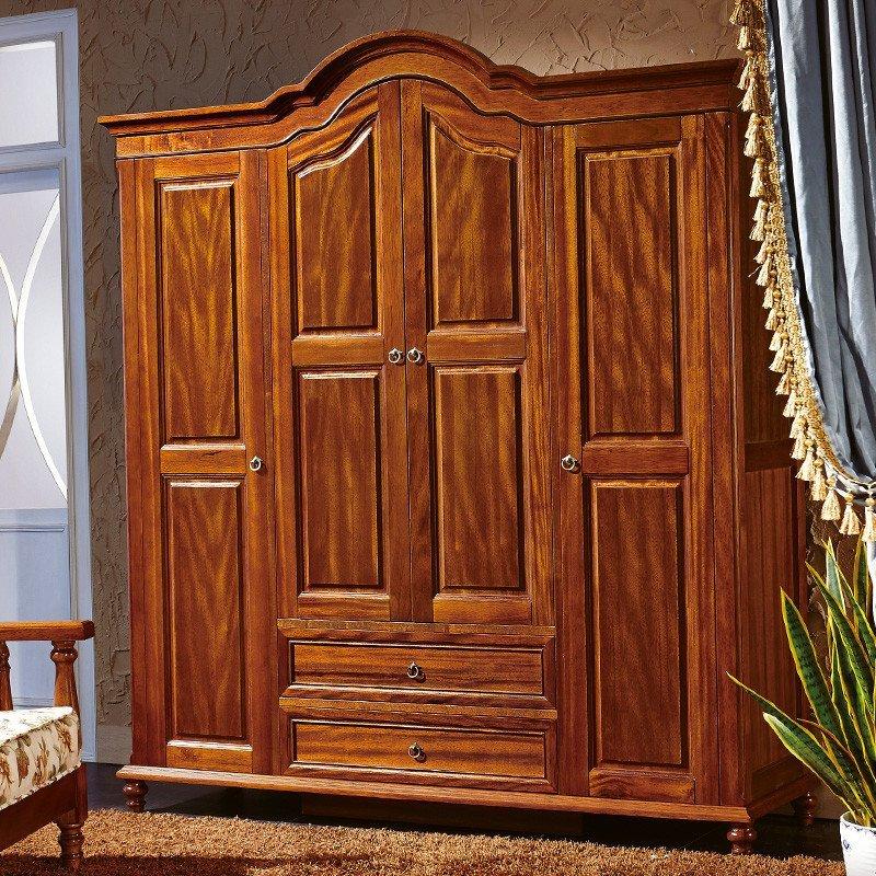 法莉娜 欧式实木衣柜 中式胡桃木四门衣柜 法式新古典