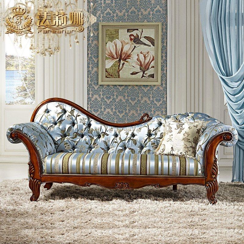 法莉娜 美式贵妃椅美人榻贵妃布艺沙发 欧式卧室实木太妃椅 d91