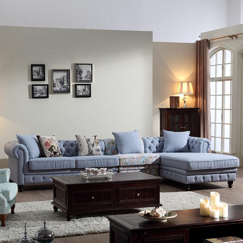 法莉娜 北欧客厅布艺沙发 美式沙发大户型转角沙发现代简约客厅整装af