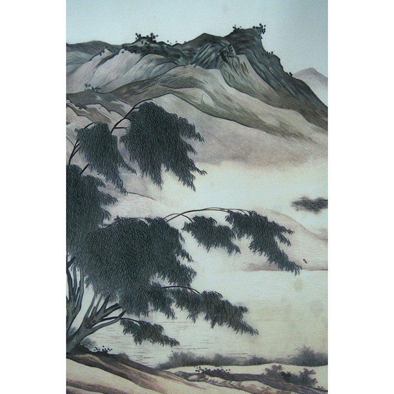三景刺绣 苏州手工真丝苏绣 中式办公室装饰画 单面绣山水风景 传统工