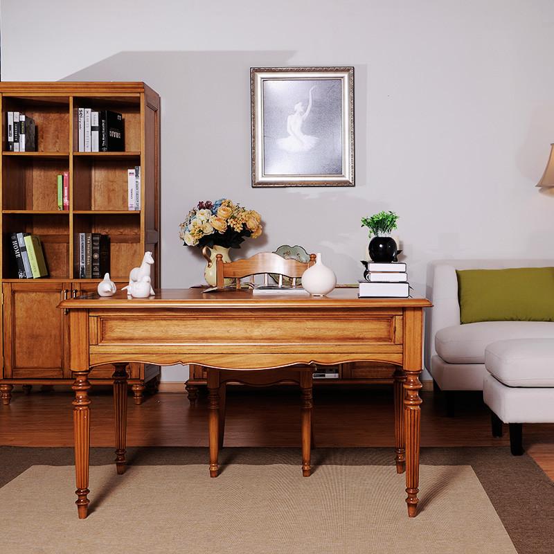 巢趣美式乡村美式家具美式书桌实木书桌美式欧式电脑桌 书桌 书架组合图片