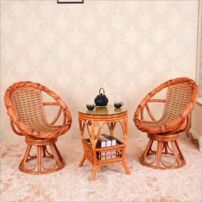 京好 藤椅子茶几三件套 简约环保扭藤转椅天然真藤休闲椅组合A75