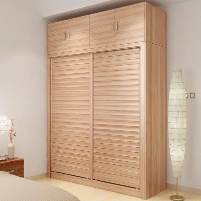 亮彩 时尚烤漆移门衣柜 简约现代整体大衣橱家具 白色/木纹色推拉门