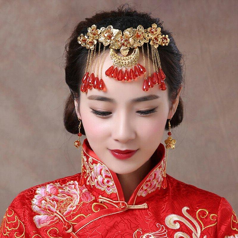 时光叙 新娘头饰民族风古装新娘造型秀禾服头饰宫廷凤冠发饰品套装