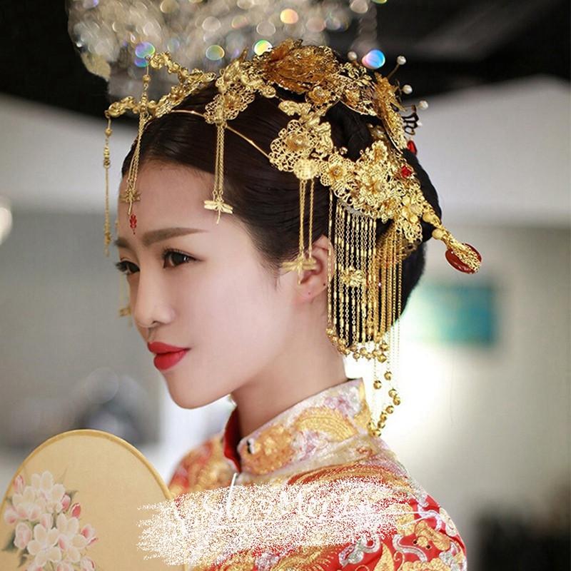 时光叙 新娘古装头饰中式复古凤冠结婚饰品秀禾服龙凤图片
