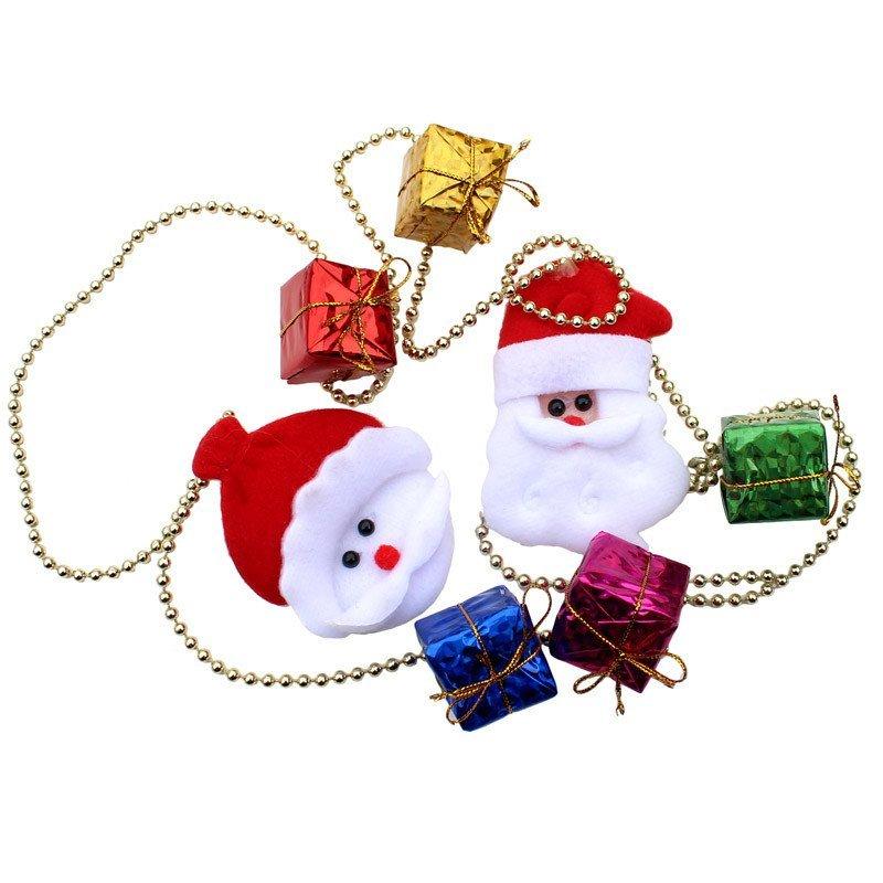 欢乐派对圣诞节用品圣诞节场景装饰 圣诞树挂饰挂件玩偶小链条链串长