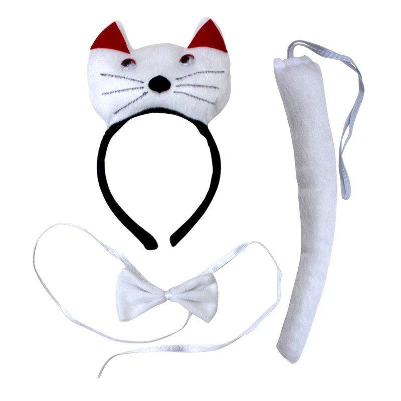 欢乐派对 动物三件套动物表演演出头饰头箍发卡小白猫