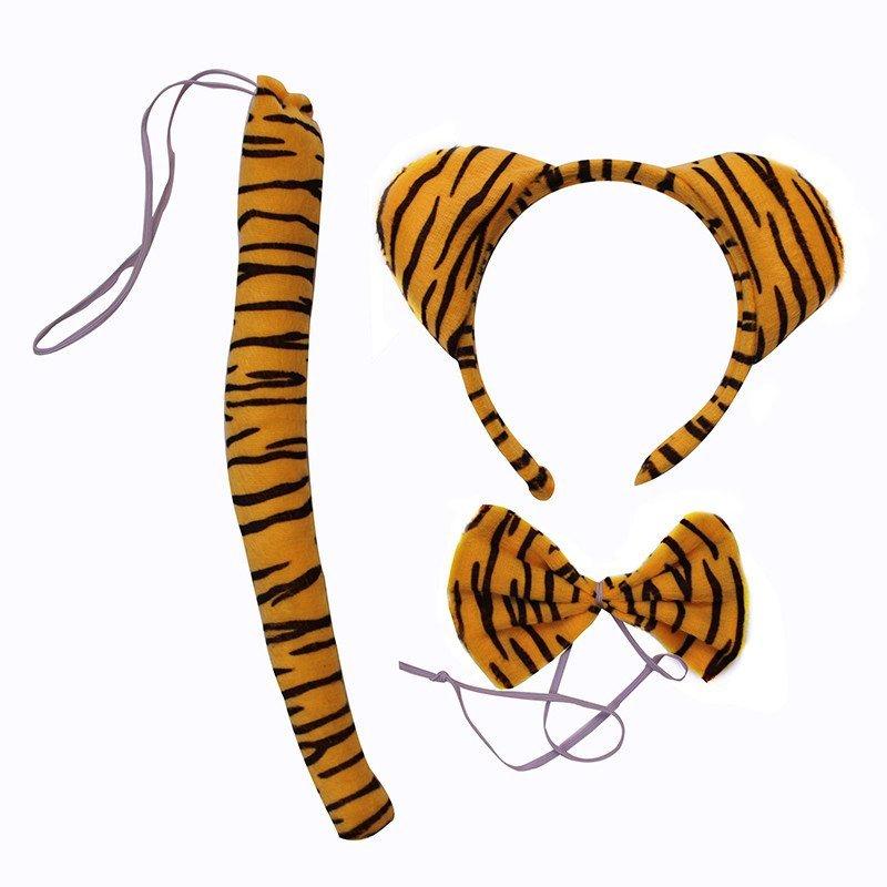 欢乐派对 动物头饰动物表演三件套老虎头箍发卡发箍老虎耳朵领结尾巴