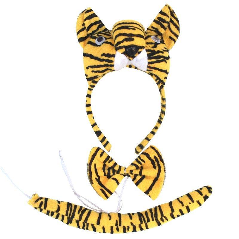 欢乐派对儿童节动物头饰动物表演演出道具立体老虎头饰头箍领结尾巴三