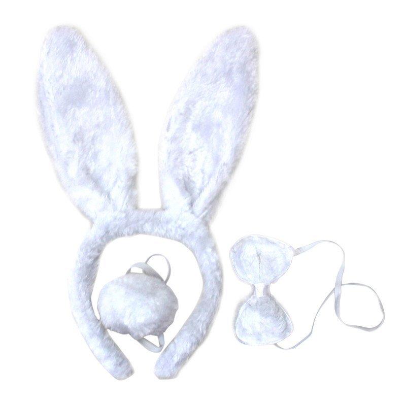 欢乐派对动物头饰道具动物三件套亮片小白兔子耳朵头饰头箍领结尾巴三