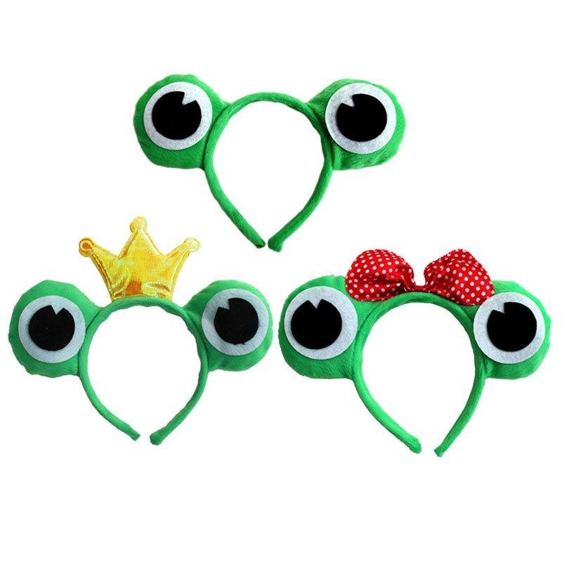 幼儿园动物头饰表演演出道具青蛙头饰道具青蛙头箍发卡青蛙戴眼镜头饰