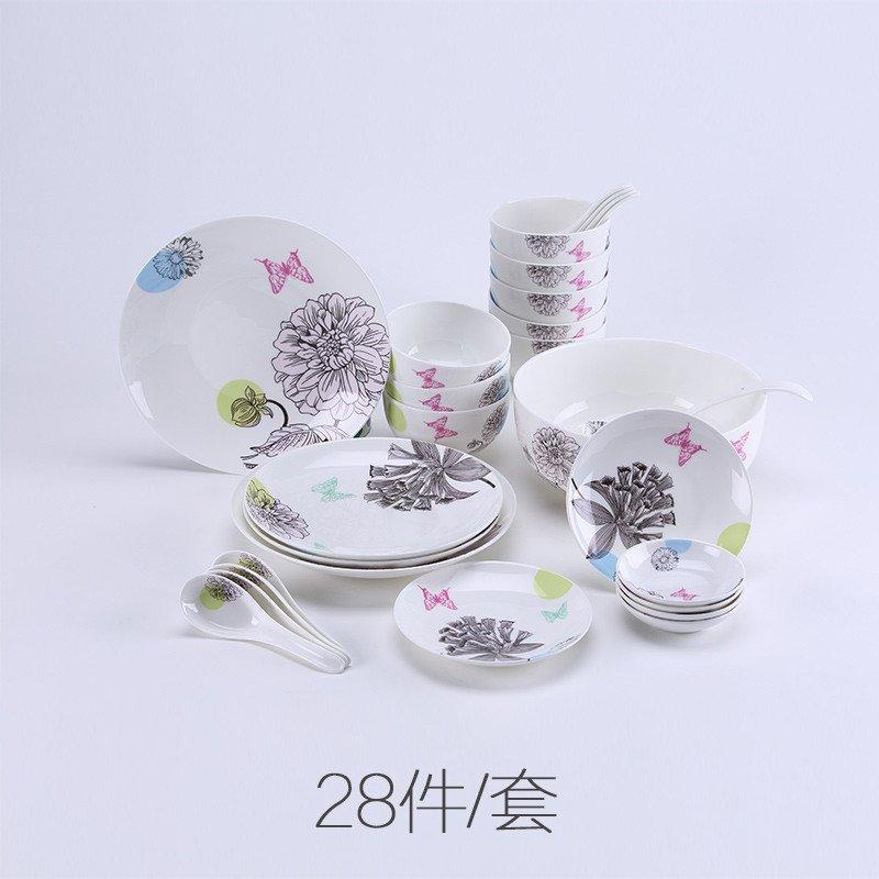 君红陶瓷 伟业系列 餐具套装碗盘碗碟 中式高档瓷器骨瓷礼品送礼 家用图片