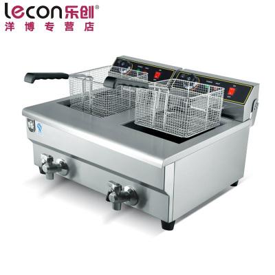 lecon/乐创洋博 商用电炸炉 26L不锈钢油炸锅 单双缸电炸锅 油条炸机薯塔机 炸薯条油炸炉