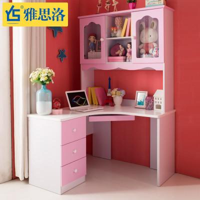雅思洛欧式书桌儿童学习桌椅儿童书桌书柜组合转角书桌 红色