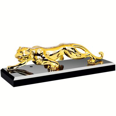 淘爾杰TAOERJ車載擺件金屬水晶金錢豹子汽車擺件 汽車香水座式用品車上車內飾品