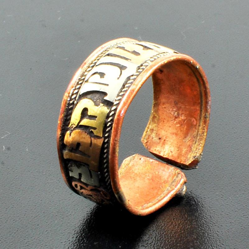 藏巴部落 六字真言戒指 男女 情侣戒指 藏饰越戴越亮三色铜开口戒指