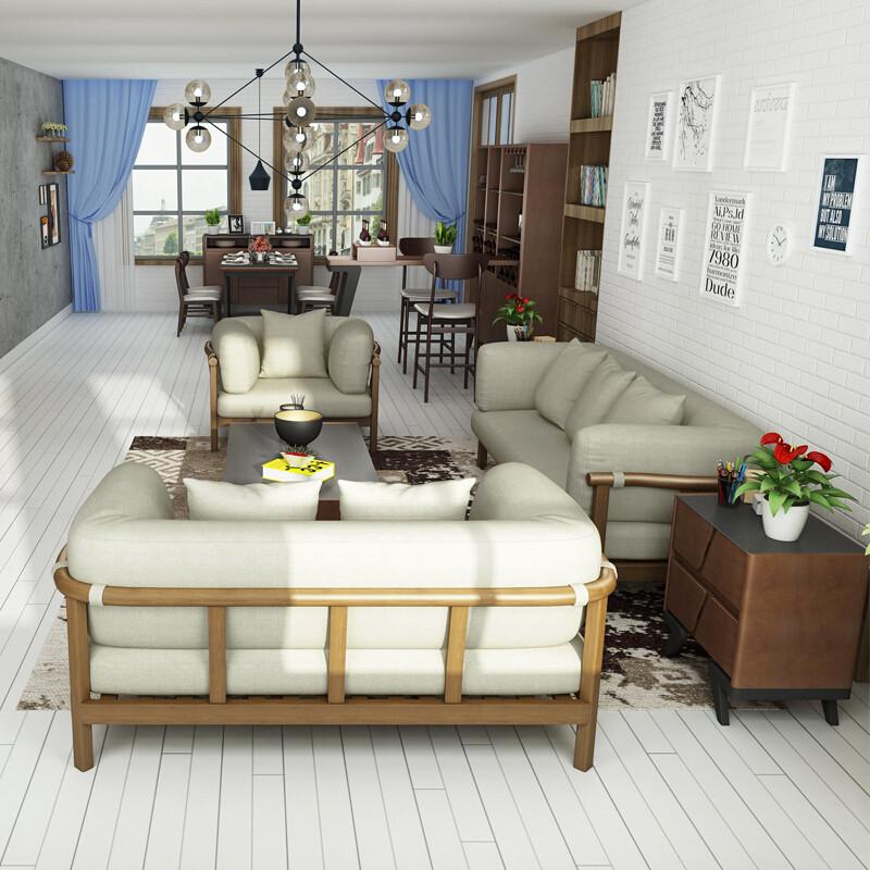 慕尼思丹沙发实木沙发布艺沙发客厅沙发小户型北欧沙发家装节4免1单人