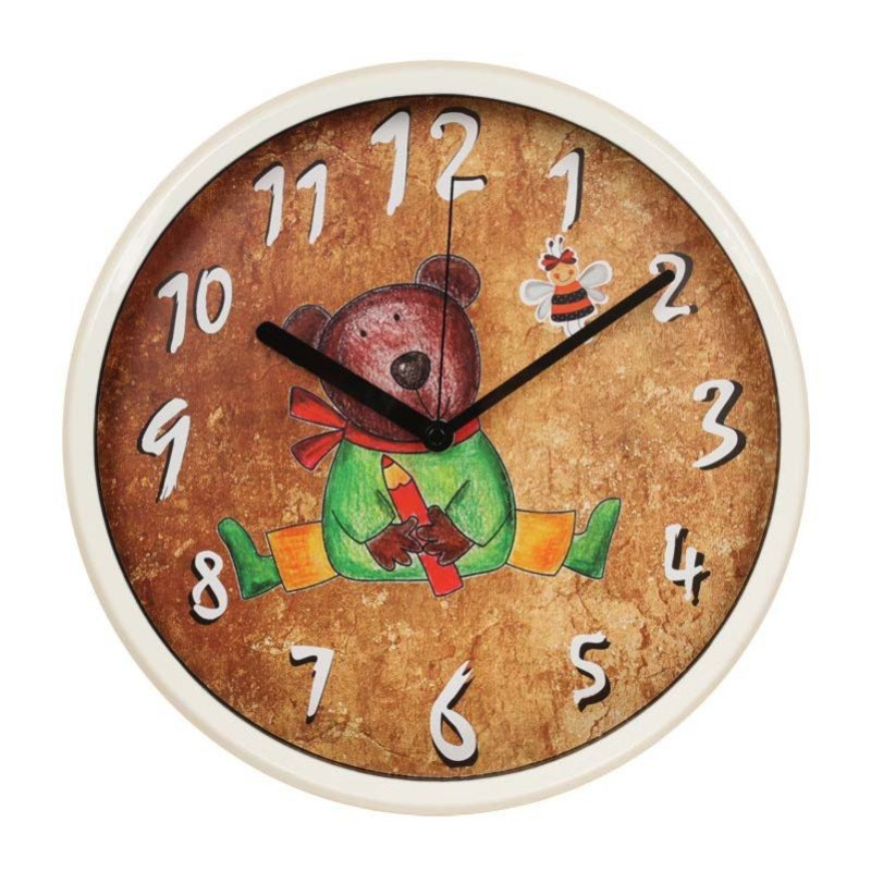 迪高 大厅房间卡通粉丝可爱小熊小老鼠挂钟 12寸静音电子石英挂表