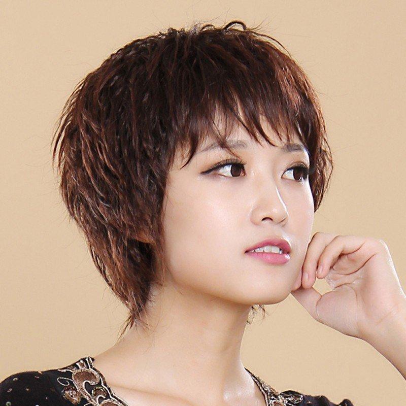 小苏妞假发 时尚中老年假发短卷发短发 斜刘海假发女士头套短卷刘海真