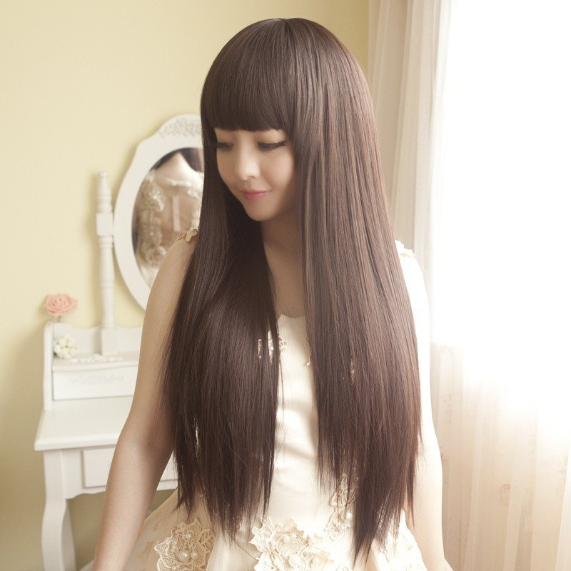小苏妞假发 长直发女蓬松修脸甜美可爱长直发假发女 修脸蓬松齐刘海