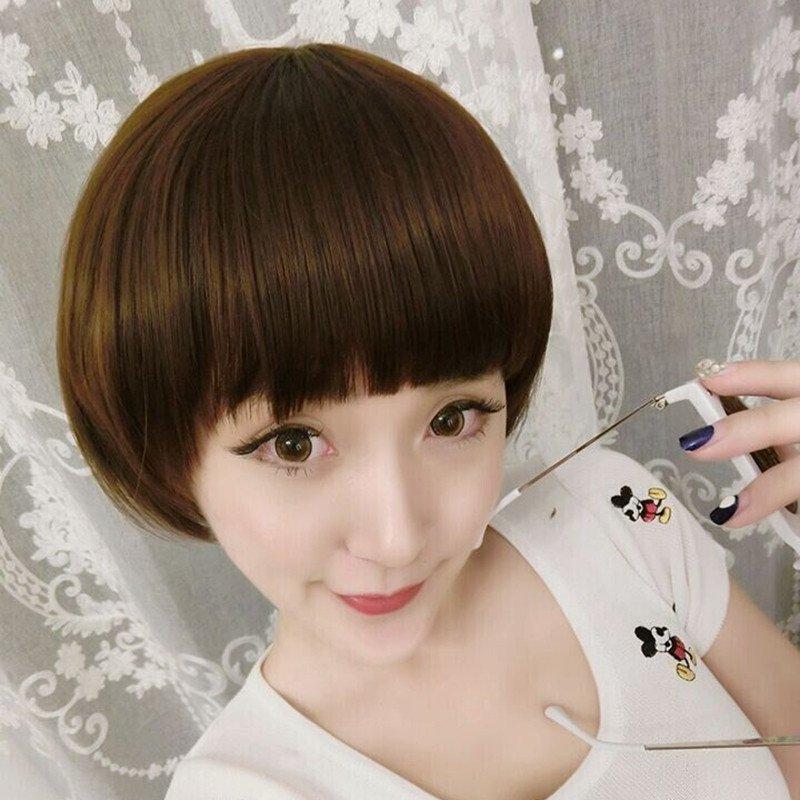小苏妞假发 蘑菇头 假发女短发齐刘海蓬松bobo头斜刘海女士款逼真波波