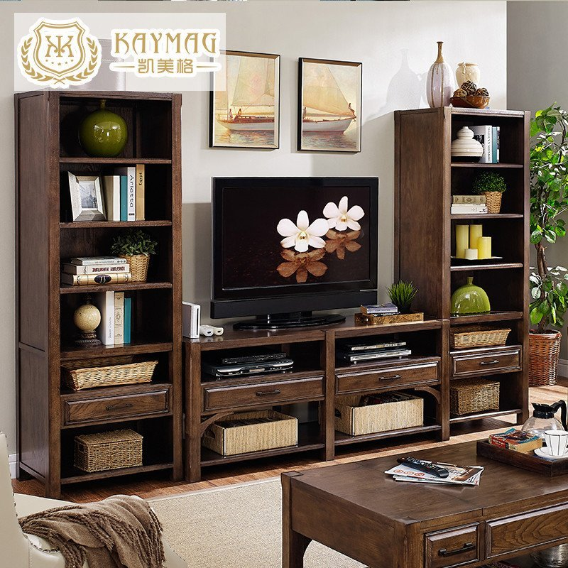 凯美格 美式乡村书柜实木书架自由组合客厅酒柜收纳柜