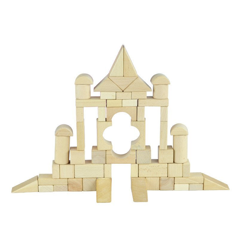 网童奇贝100粒木质榉木原木积木实木木制早教玩具3-8岁