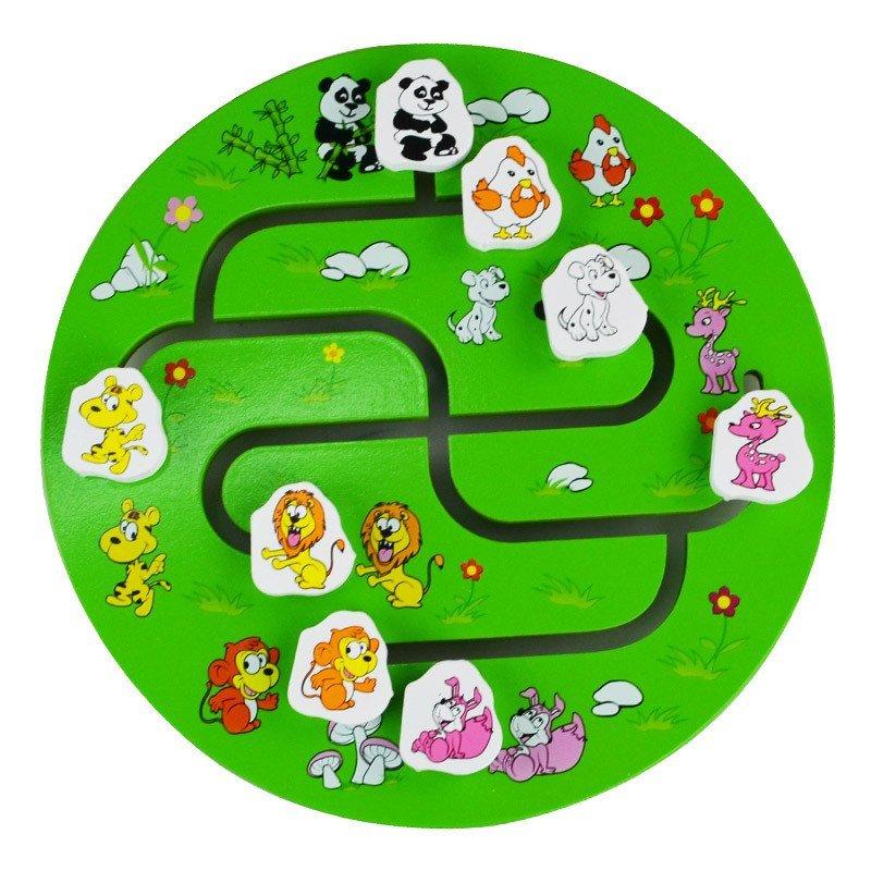 网童奇贝木制儿童玩具动物迷宫 走位圆迷宫小动物找影子
