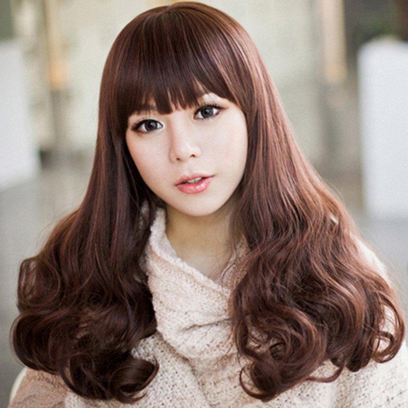 宫秀假发女士齐刘海长卷发 蓬松大 波浪甜美可爱长发哑光高温丝 .
