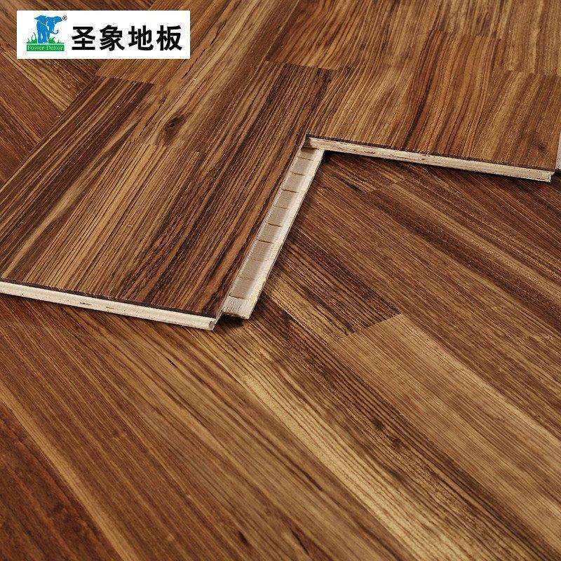 圣象地板自带龙骨三层实木复合地板ky8301港湾(赛鞋木豆)线下专卖店